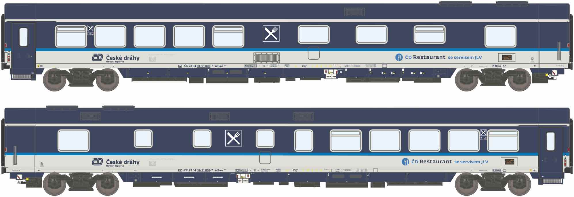 195471: EuroCity dining car, type WRmz 815 of the Czech Railways CD