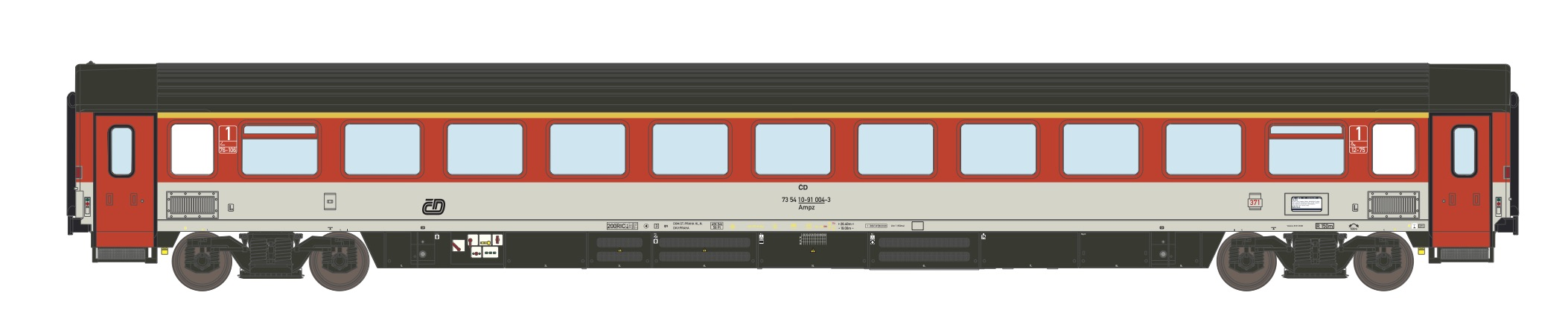 195454: EuroCity saloon car 1. class, type Ampz 146 of the Czech Railways CD