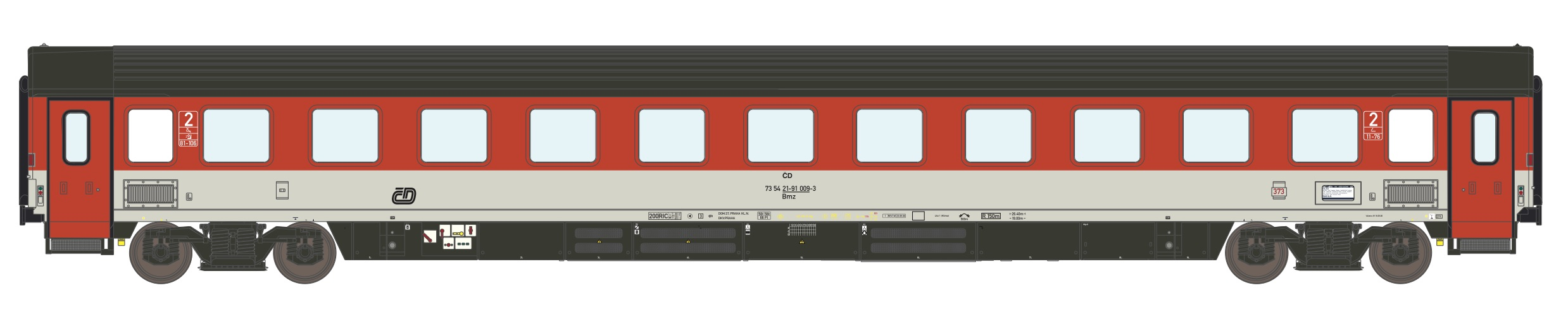 195434: EuroCity compartment car 2. class, type Bmz 245 of the Czech Railways CD